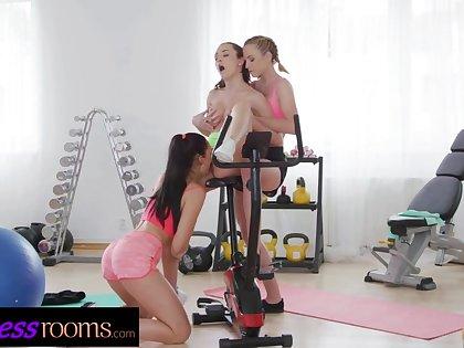 Fitness Compromise Petite teen Alya Passive gym lesbian triumvirate involving Czech babes