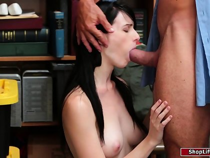 Female shoplifter caught and fucked by a horny store officer
