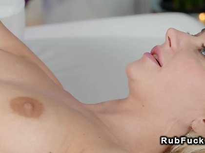 Beauteous with small tits gets lesbians rub down