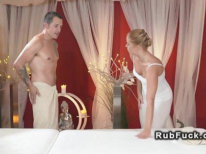 Blonde masseuse giving massage upstairs big dick