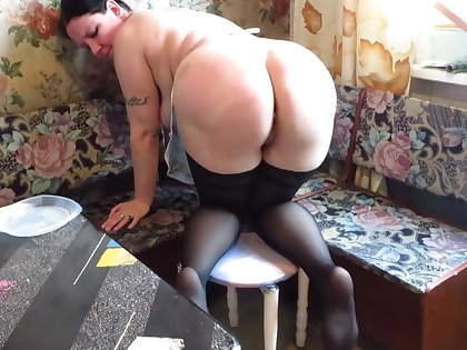 vegetables and cream wasting big ass busty milf. farting