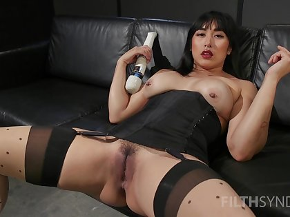 Asian whore sticks large toys around both holes during a rare solo