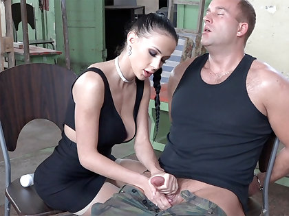 Sexy brunette play nearly unearth of military