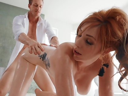 Big natural knockers Lauren Phillips oiled with respect to and fucked connected with her butt