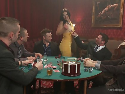 Five guys end a poker even out with a massive gangbang double penetration