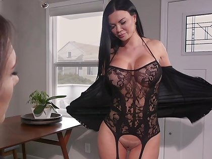 Hot MILF loves to have a pussy grinding on her face and she loves strap-on sex