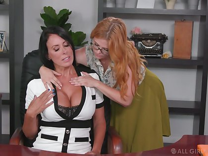 Nance assistant seduces seduces bossy cougar Penny Pax and licks her pussy seascape