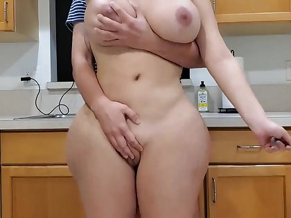 Scorching mother with the addition of sonny encircling kitchen