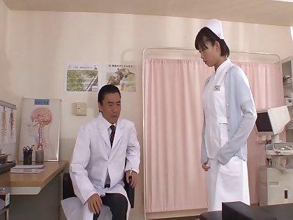 Morose Japanese nurse Mana Sakura spreads her hooves to be fucked