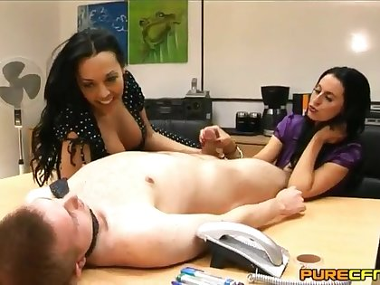 Double handjob with the addition of blowjob by Louise Jenson with the addition of Rio Lee. HD