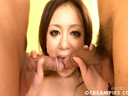 Two dudes with hard dicks fuck mouth coupled with pussy be advantageous to Rui Natsukawa