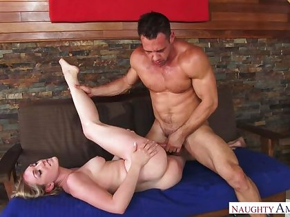 Light-complexioned Lily LaBeau shacking up in the couch with her hairy bush