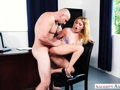 Caucasian Krissy Lynn fucking more the chair with her big bowels