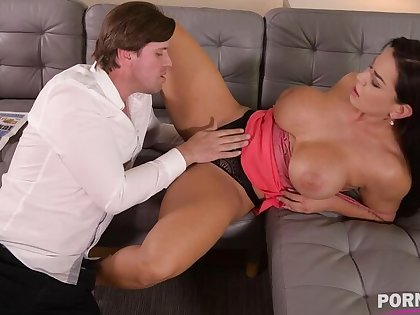 Top-heavy bombshell Chloe Lamour needs her asshole to be congested with big cock GP904